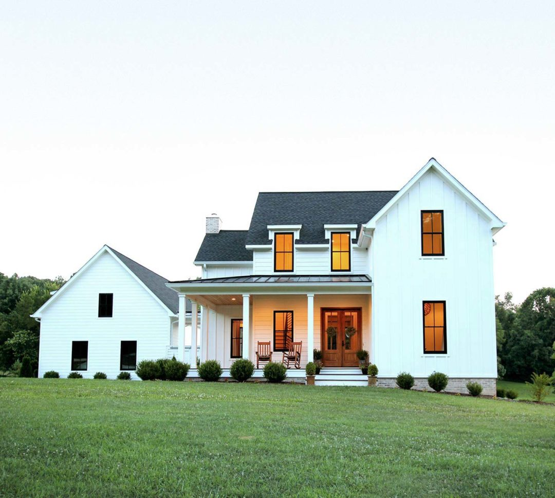 Our Modern Farmhouse Exterior Plank And Pillow