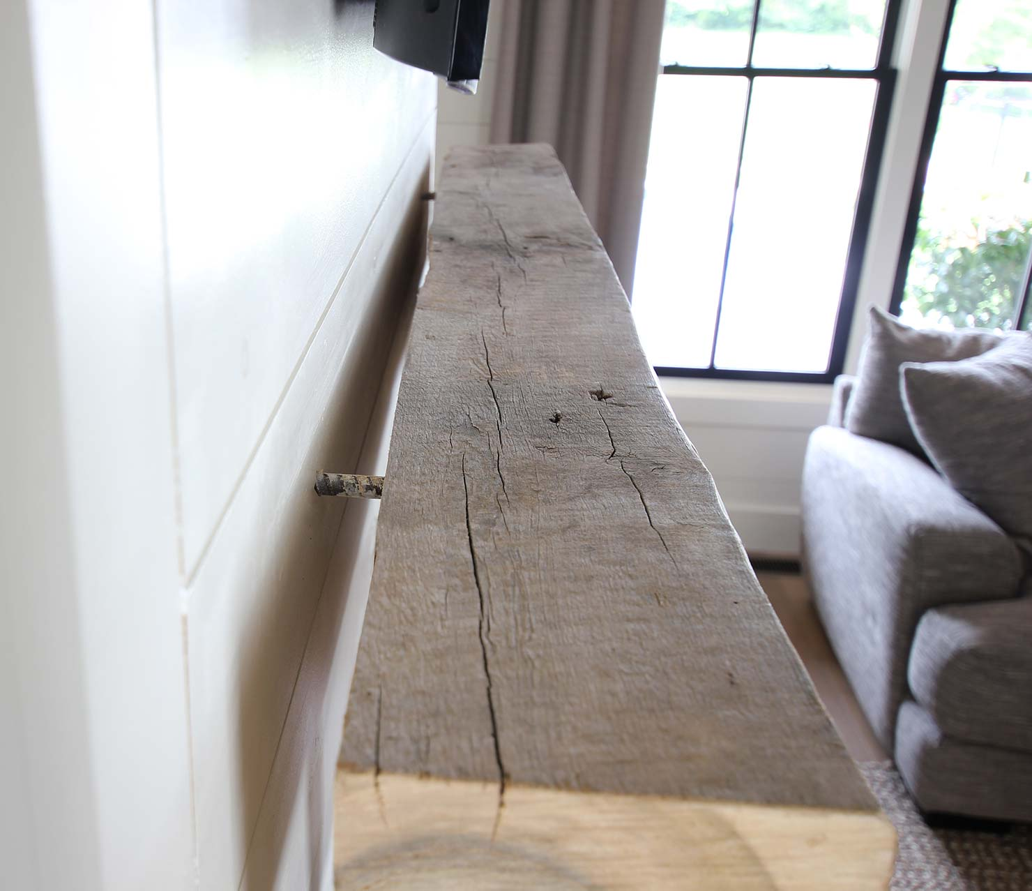 How To Install A Reclaimed Wood Mantel Plank And Pillow