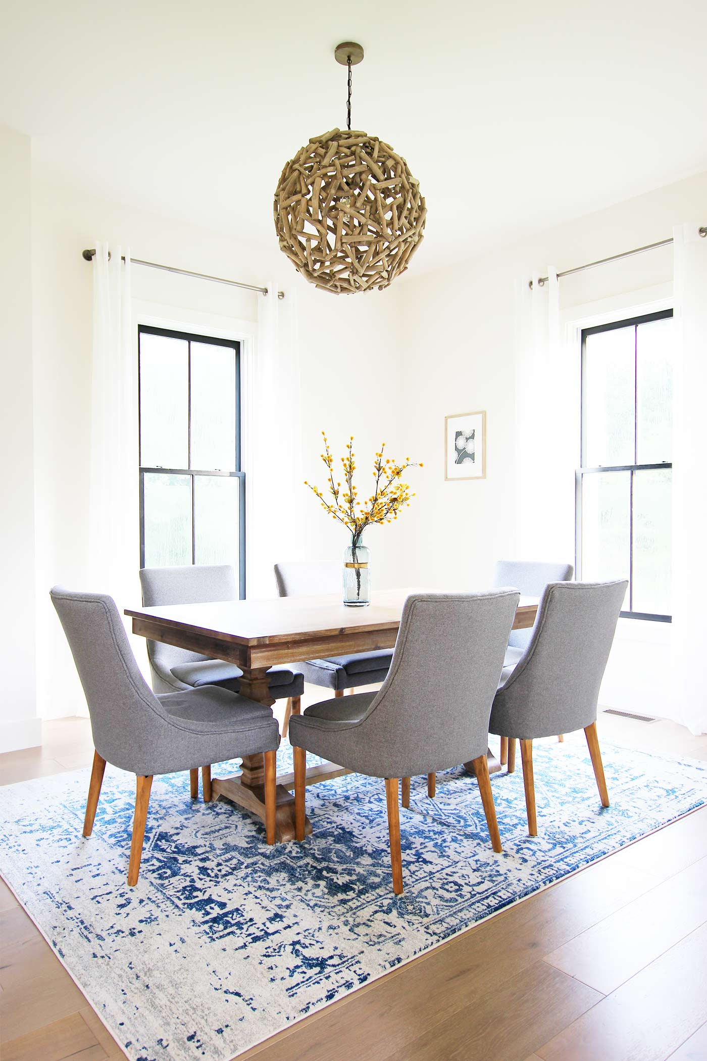 We Used White Sheer Linen Curtains On All Windows To Allow For Natural Light Add Some More Color Went With The Hillsby Oriental Blue Area Rug From