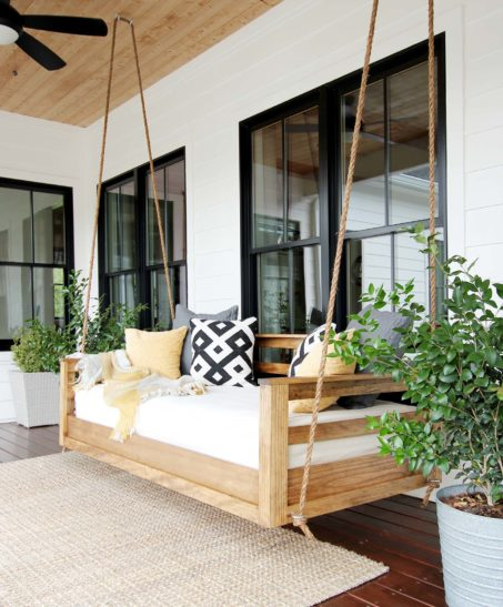 Front Porch Swings Farmhouse Exterior: DIY And Decorating A Modern Farmhouse