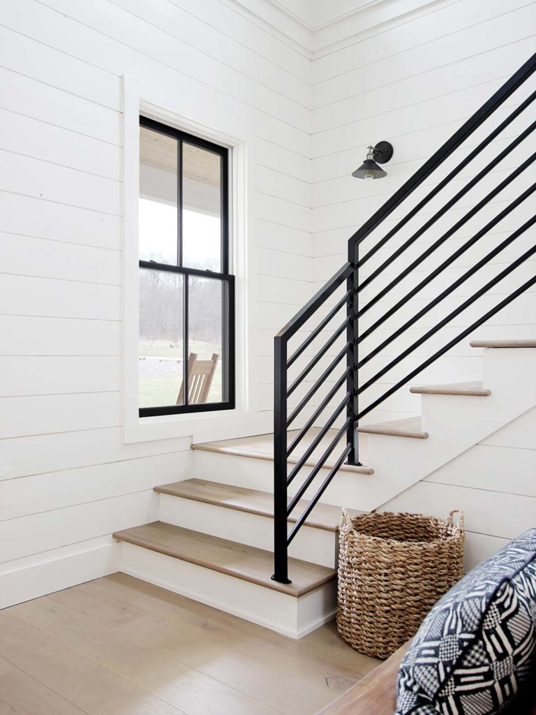 All The Details On Our Industrial Metal Stair Railing Plank And Pillow