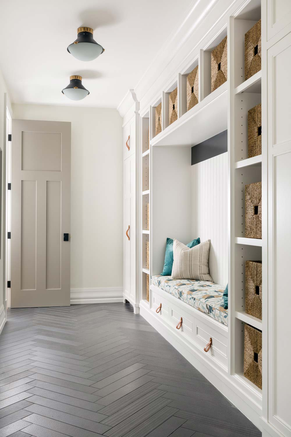 Here Is A Mudroom By Aly Velji That Has An Amazing Color Scheme And Unique Take On Drop Zone Built Ins The Dark Floor Nice Modern Vibe