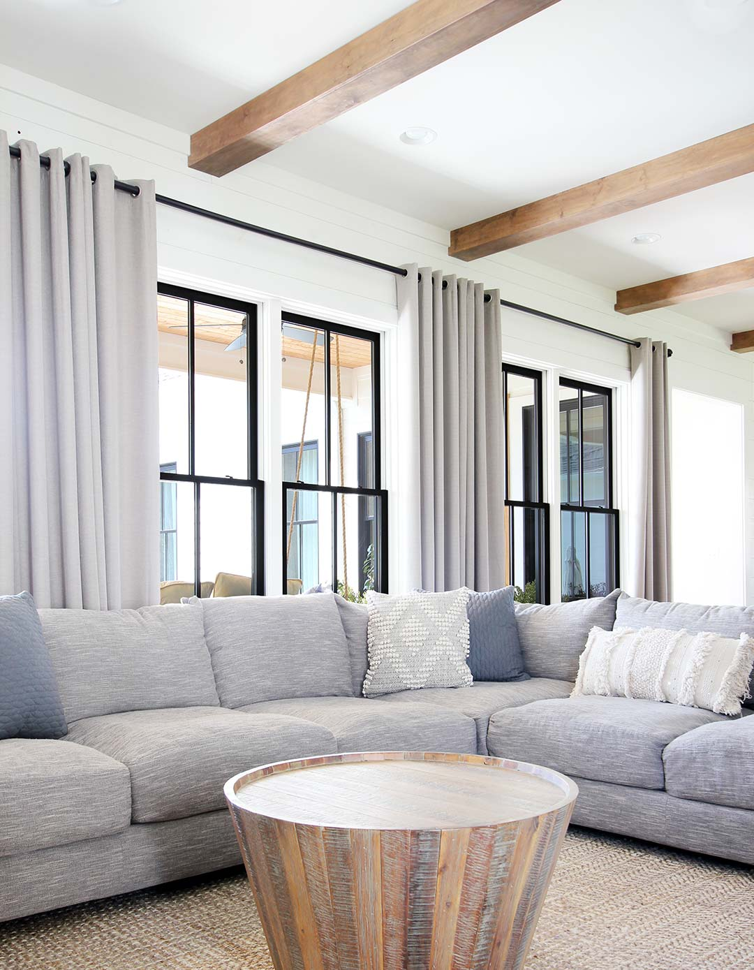 How To Build Box Beams Plank And Pillow, Wood Beams In Living Room Ceiling