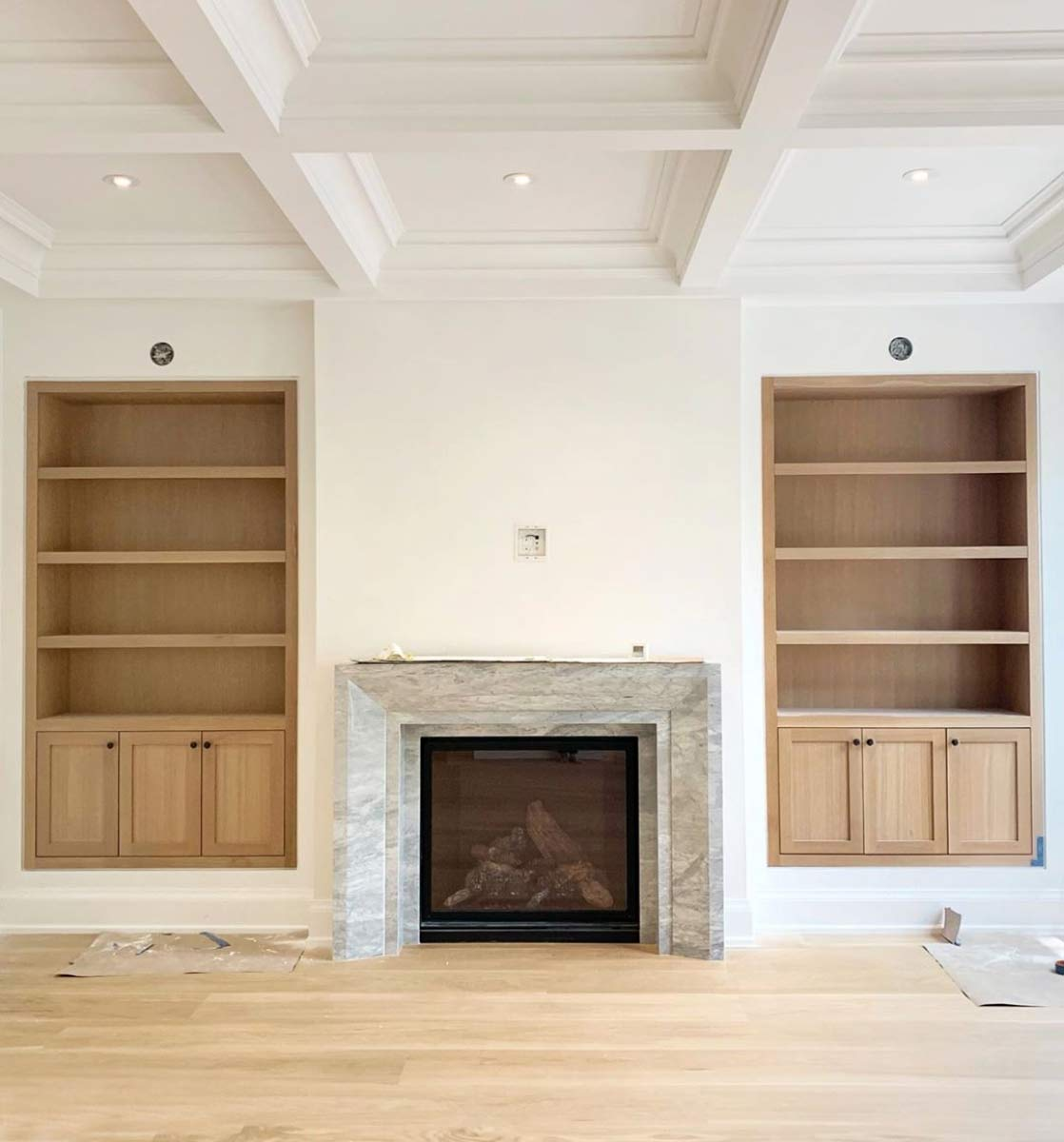 Designing our living room finishes built ins fireplace - Living room built ins ...