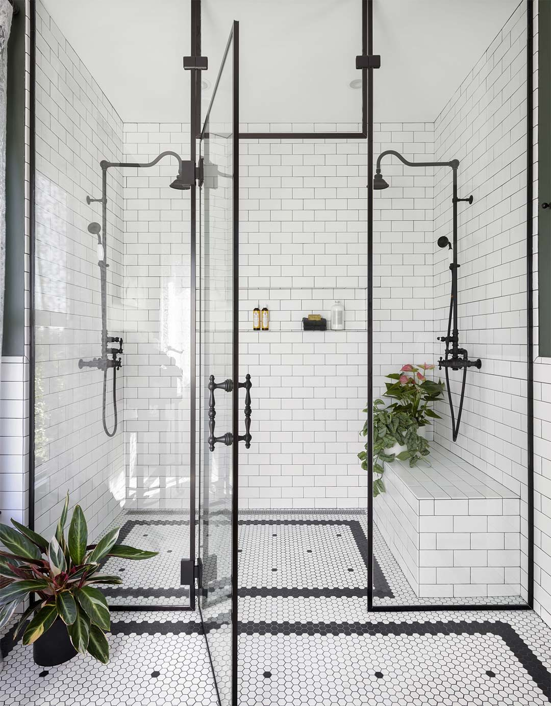 An example of a curbless shower