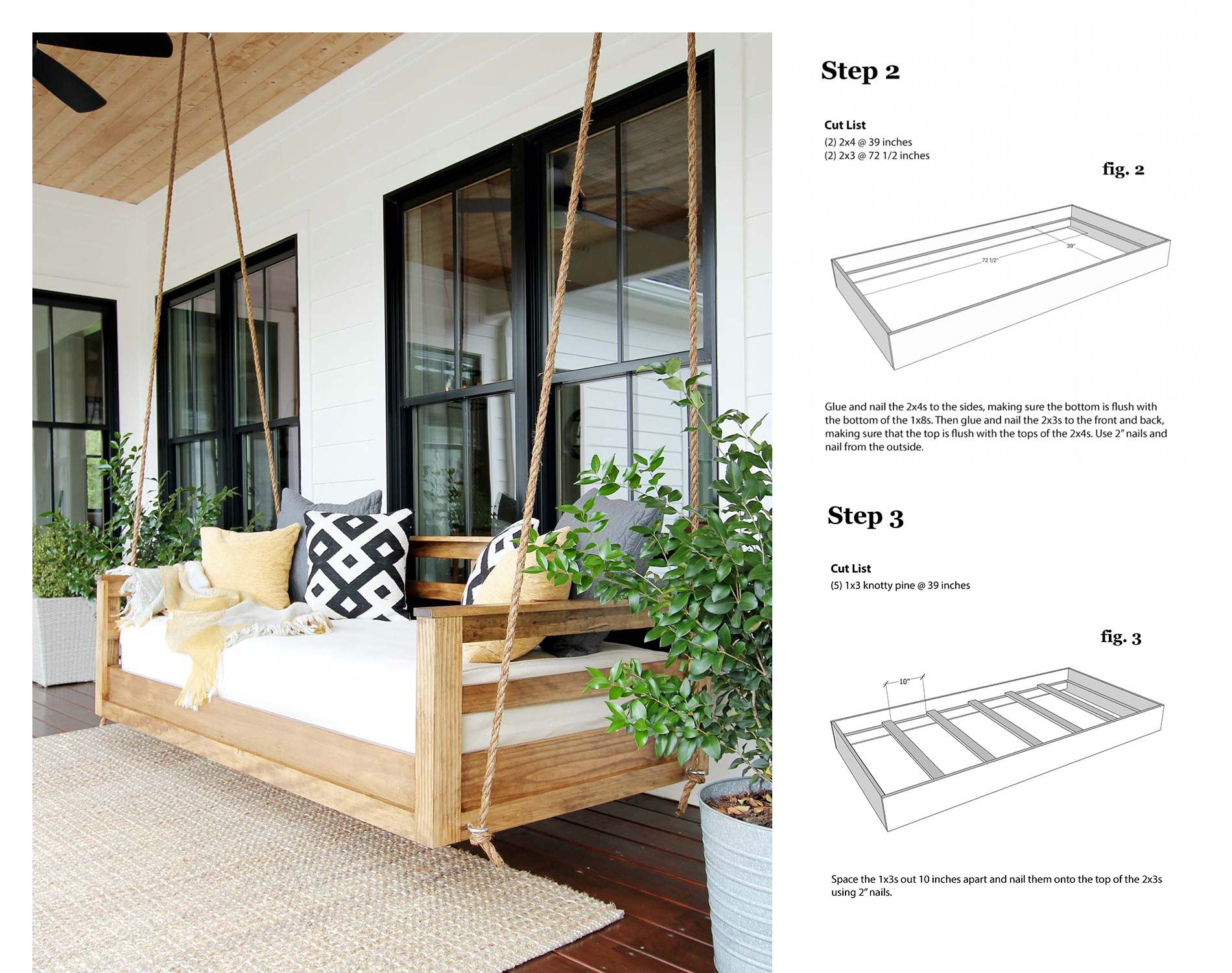 Picture of: Porch Swing Bed Plan 1 Plank And Pillow